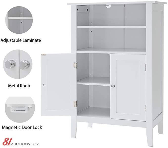 Iwell Bathroom Floor Cabinet With 2 Adjustable Shelf 6 Heights Available Storage Cabinet With 2 Doors Modern Bookcase For Decorations In Living Room Office Ysg004b Auction 81 Auctions